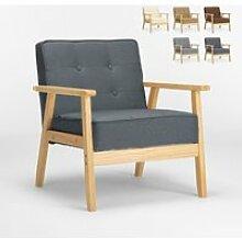 Fauteuil en bois au design scandinave vintage avec