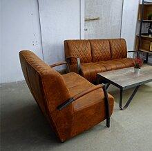 Fauteuil en cuir de style industriel et vintage