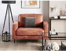 Fauteuil en tissu marron aspect cuir savalen 219460