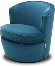 Fauteuil en tissu velours bleu pivotant - sophia
