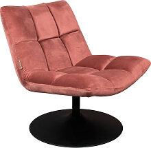Fauteuil en velours pivotant lounge vieux rose