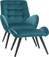 Fauteuil et repose-pieds design en velours bleu