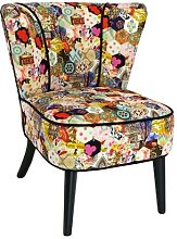 Fauteuil Gatsby velours Patchwork tons multicolores