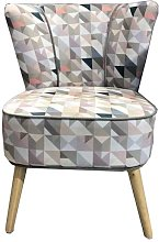 Fauteuil Gatsby velours Patchwork triangles tons