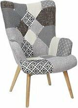 Fauteuil helsinki patchwork gris home deco factory