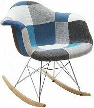 Fauteuil modèle Daw patchwork à bascule gris-bleu