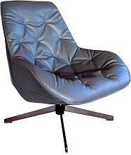 Fauteuil moderne aspect cuir gris