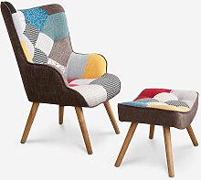 Fauteuil Patchwork Design Moderne avec pouf