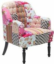 Fauteuil patchwork fauteuil en tissu multicolore