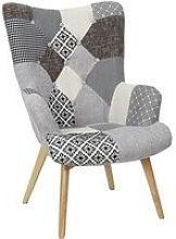 Fauteuil patchwork -Tissu  Gris - L 65 x P 74 x H