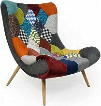 Fauteuil patchwork tissu multicolore et pieds bois