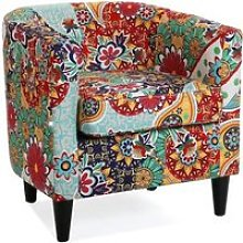 Fauteuil patchwork turquoise