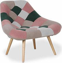 Fauteuil patchwork velours rose et pieds bois