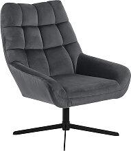Fauteuil pivotant design en velours gris