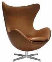 Fauteuil pivotant Egg chair / Cuir - Fritz Hansen