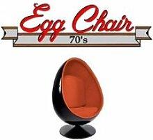 Fauteuil pivotant Oeuf, Egg chair coque noir /