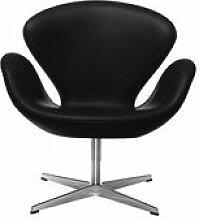 Fauteuil pivotant Swan chair / Cuir - Fritz Hansen