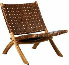Fauteuil pliant en bois de teck et cuir brun