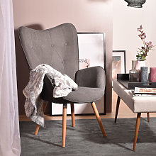 Fauteuil Salon - Style Scandinave - Tissu Gris et