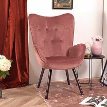 Fauteuil Salon - Style Scandinave - Velours Rose