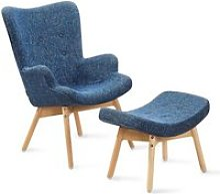 Fauteuil scandinave bleu patchwork - Stockholm -