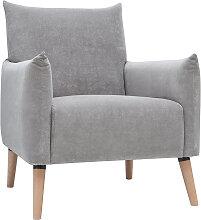 Fauteuil scandinave effet velours texturé gris