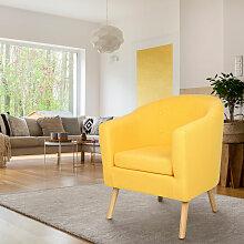 Fauteuil scandinave en tissu jaune moutarde