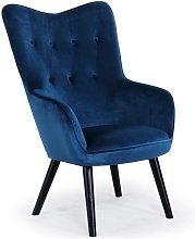 Fauteuil scandinave Klarys Velours Bleu - Bleu