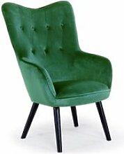 Fauteuil scandinave klarys velours vert