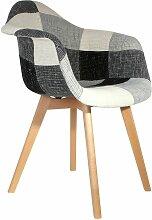 Fauteuil Scandinave Patchwork gris - Multicolore