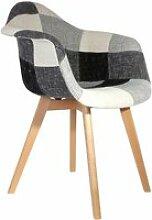 Fauteuil scandinave patchwork gris