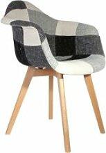 Fauteuil scandinave patchwork - h. 83 cm - gris