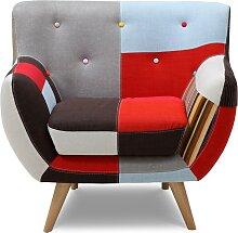 Fauteuil SERTI - Tissu patchwork nuances rouge/noir