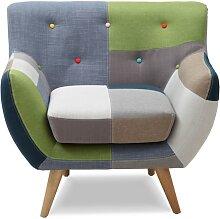 Fauteuil SERTI - Tissu patchwork nuances vert/bleu