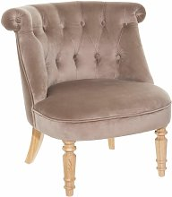 Fauteuil Velours Crapaud Taupe - Atmosphera - Taupe