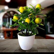 Faux citrons artificiels en pot, fleurs pour
