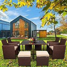 FCH Salon de Jardin Exterieur en Résine Tressée