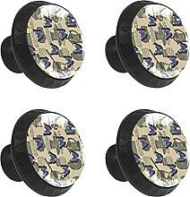 FCZ Lot de 4 boutons de tiroir vintage en verre