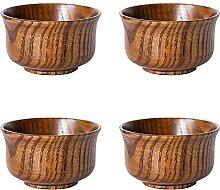 FDKJOK Lot de 4 bols en bois massif de style