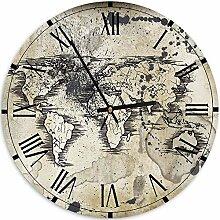 Feeby Pendule Murale Carte du Monde Horloge déco