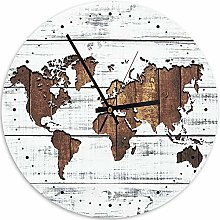 Feeby Pendule Ronde Carte du Monde Horloge Murale