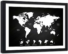 Feeby Poster Cadre Noir XXL Carte du Monde Image