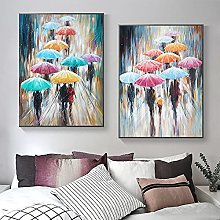 Femme abstraite avec parapluie le jour de pluie