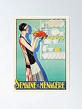 Femme française dans la cuisine Affiche