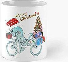 Festive Octopus Noël Bike drôle Tasse classique