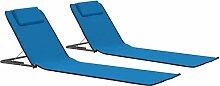 Festnight Tapis de Plage Pliable 2 pcs Chaise de