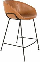FESTON - Chaise de bar simili cuir marron H65