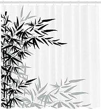 Feuilles de Bambou Blanc Noir Rideau de Douche