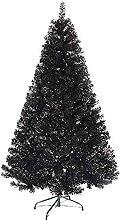 FHKSFJ Sapin de Noël pré-éclairé PVC Noir pin