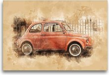 Fiat Nuova 500, Toile Textile, 75 x 50 cm